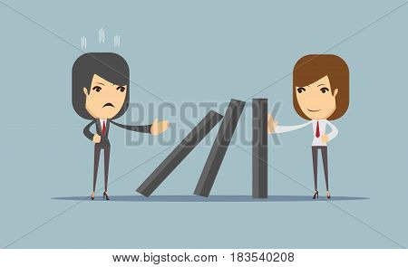Business war. The difficulties on the road to success. Vector for use in presentations