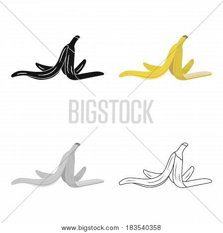 Peel of banana icon in cartoon style isolated on white background. Trash and garbage symbol vector illustration.