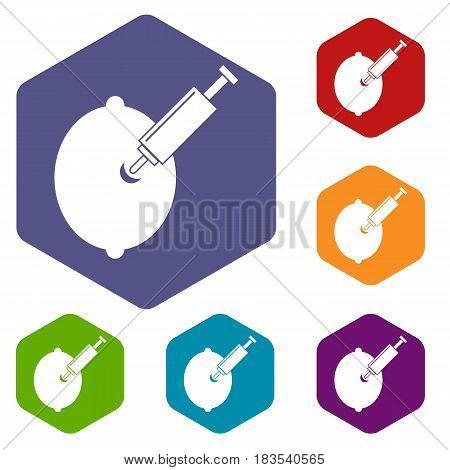GMO lemon with syringe icons set hexagon isolated vector illustration
