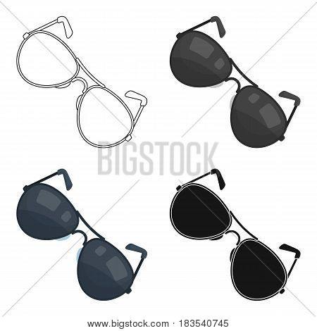 Aviator sunglasses icon in cartoon design isolated on white background. Police symbol stock vector illustration.