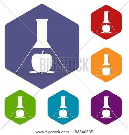 Test flask with apple icons set hexagon isolated vector illustration