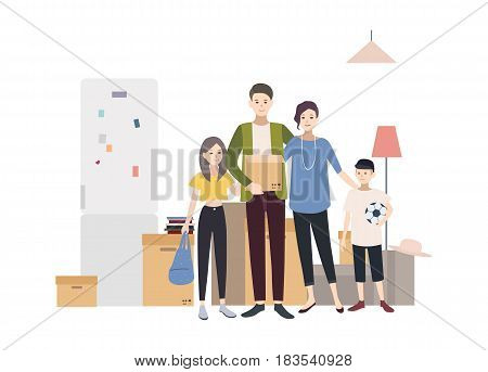 Family moving into a new house with things. Cartoon illustration in flat style