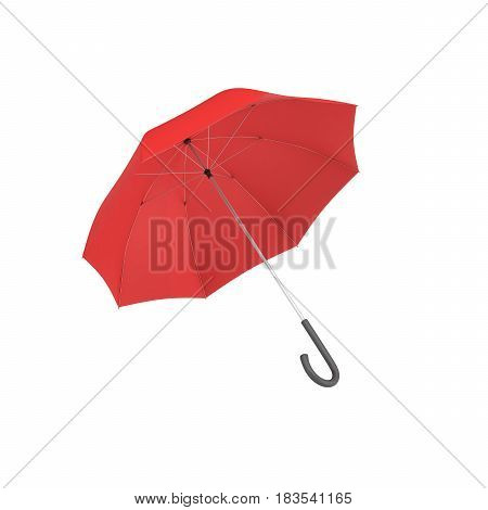3d rendering of an open red umbrella with a black curved handle isolated on white background. Weather. Rainy day. Protection and insurance.