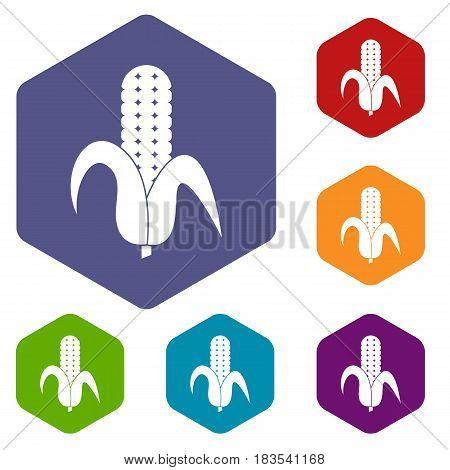 Corncob icons set hexagon isolated vector illustration