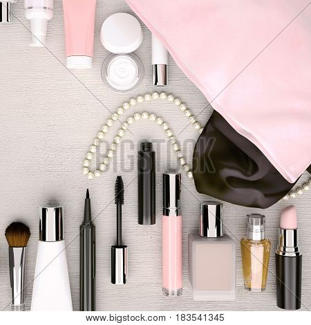 Make up bag with cosmetics located on the white wooden background. Top view. 3D illustration