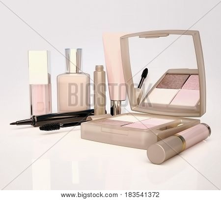 Makeup set on light background. Mascara lip gloss pencil eye shadow concealer cream located on a light gray background. 3D illustration
