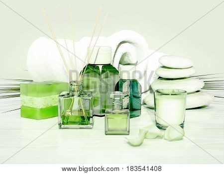Spa and wellness setting with natural soap candle and towel on light green background. 3D illustration