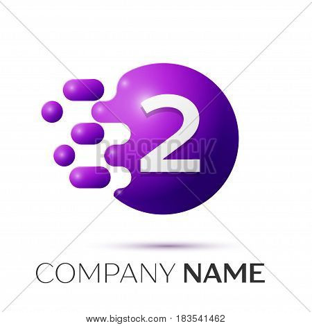 Number two splash logo. Purple dots and bubbles number design on grey background. Vector Illustration