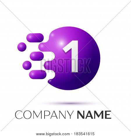 Number one splash logo. Purple dots and bubbles number design on grey background. Vector Illustration