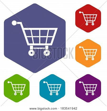 Shopping cart icons set hexagon isolated vector illustration