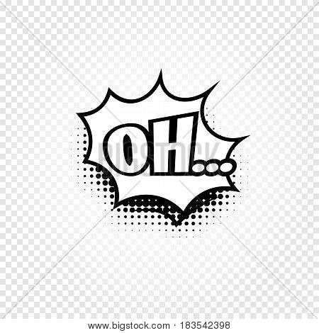 Isolated abstract black and white color comics speech balloon icon on checkered background, dialogue box with popular expressions, pop art dialog frame vector illustration.