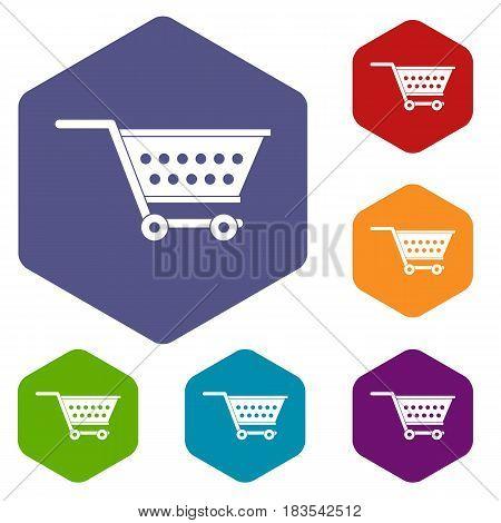Empty supermarket cart icons set hexagon isolated vector illustration