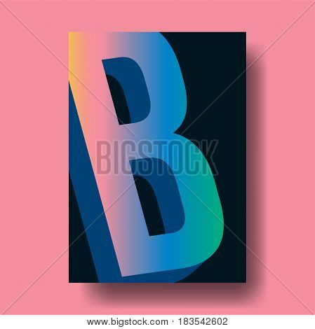Abstract Colorful Gradient Letter B Cover Design - Vector illustration template