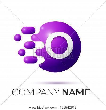 O Letter splash logo. Purple dots and circle bubble letter design on grey background. Vector Illustration