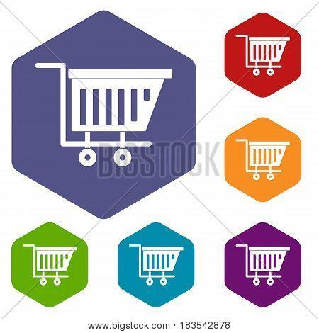 Empty plastic market trolley icons set hexagon isolated vector illustration