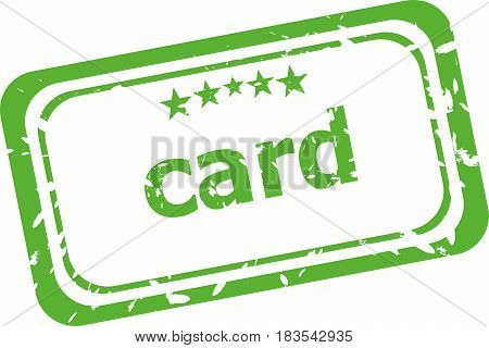 Card On Rubber Stamp Over A White Background