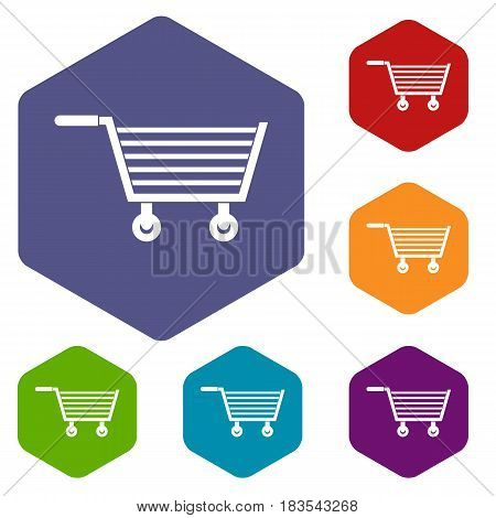 Online shopping icons set hexagon isolated vector illustration