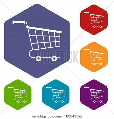 Cart icons set hexagon isolated vector illustration