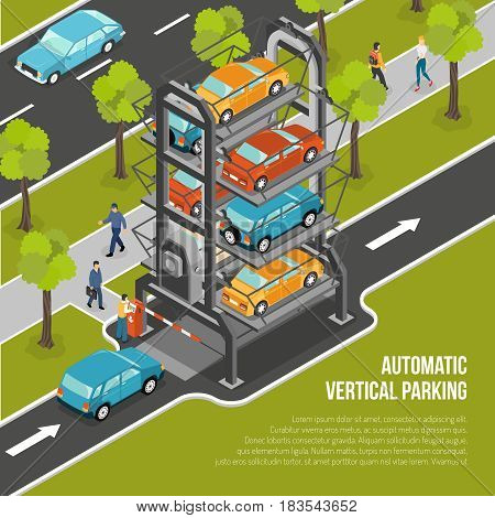 Car parking poster or flyer with automatic vertical parking located in the city vector illustration