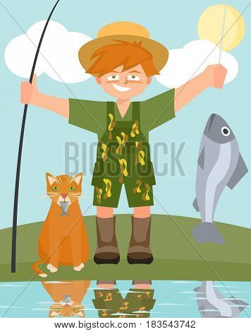 boy and cat with caught fish - funny vector cartoon illustration