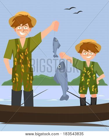 two boys  fishing from the boat - funny cartoon illustration of two brothers