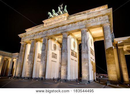 Brandenburg gate at night in Berlin - Germany