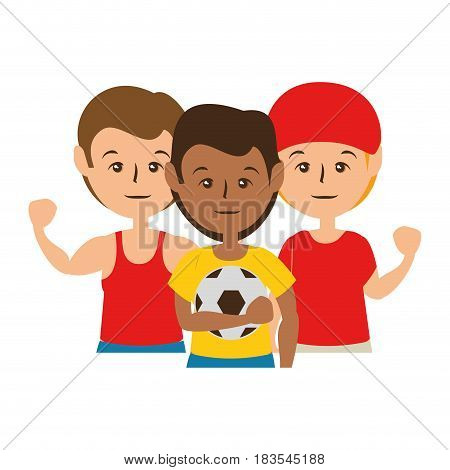 soccer team with soccer ball, cartoon icon over white background. vector illustration