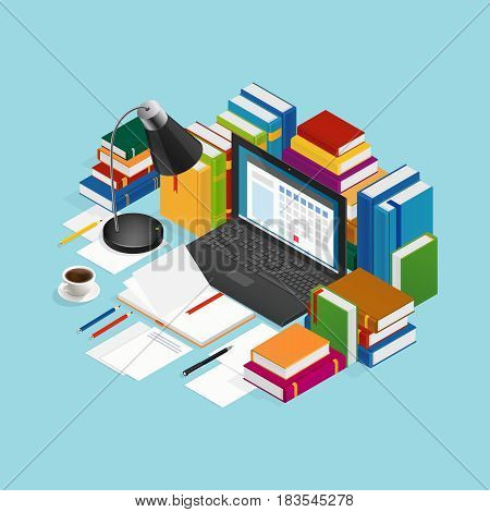 Educational colorful books around laptop paper sheets stationery coffee and lamp on blue background isometric vector illustration