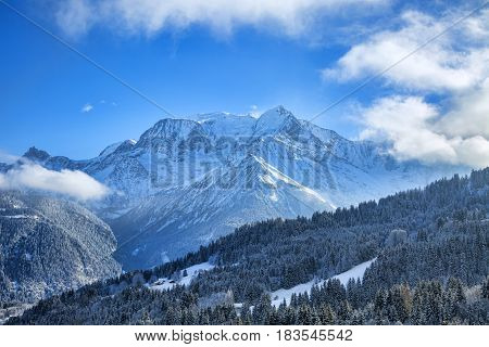 Beautiful winter landscape with Mont Blanc Massif in the distance.