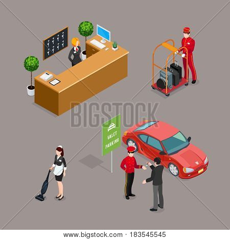 Hotel service isometric icons set with taxi driver visitor cleaner reception manager figurines isolated vector illustration