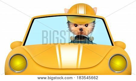 Funny puppy sitting in the yellow cabriolet with helmet isolated on white background. Car rental and buying concept concept. 3D illustration with clipping path