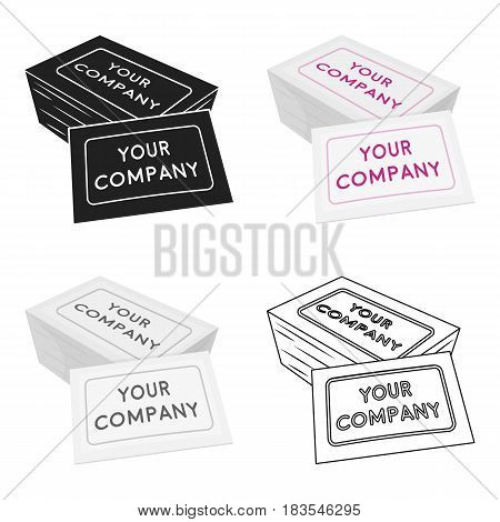 Business cards icon in cartoon style isolated on white background. Typography symbol vector illustration.