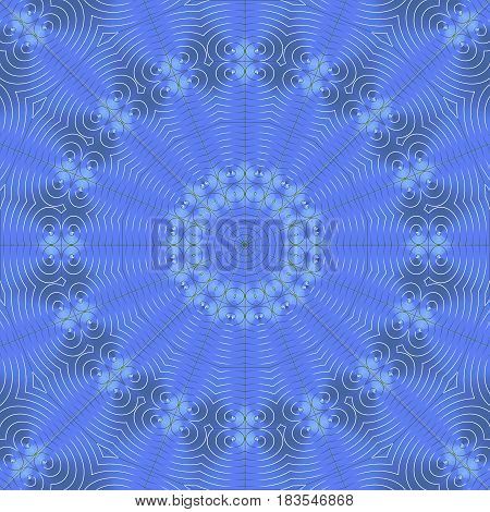 Abstract geometric background single color. Regular round scrolled concentric ornament with spirals in blue gray shades centered.