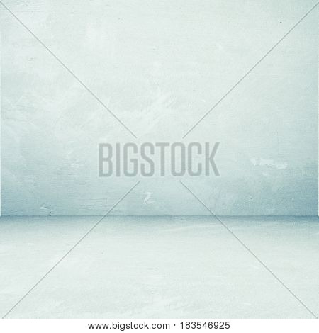 Empty perspective green cement room background template vintage interior design background