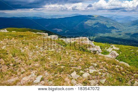 Huge Rocks In Valley On Top Of Mountain Ridge