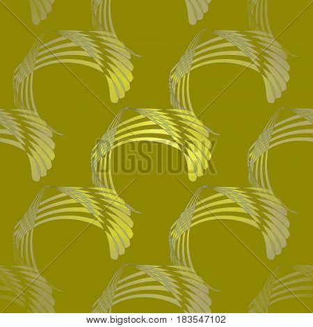 Abstract geometric seamless modern background. Regular curved stripes pattern yellow green and light gray on olive green diagonally and blurred.