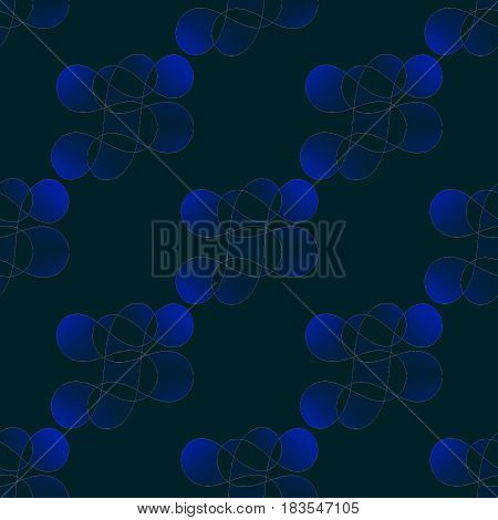Abstract geometric seamless background. Regular round pattern in dark blue shades on black diagonally.