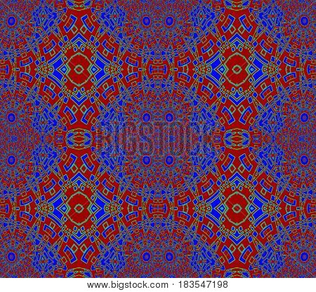 Abstract geometric seamless background. Regular intricate ornaments red and dark blue with green outlines, ornate and extensive.