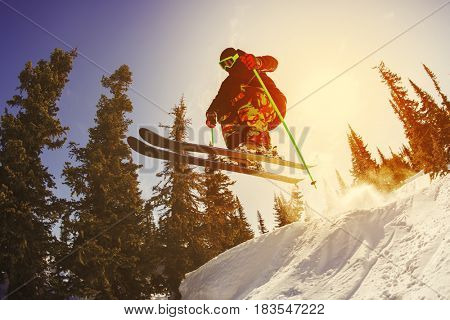 The skier jumps from a springboard in the ski resort of Sheregesh. Russia