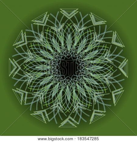 Green circle mandala in optical art style for spiritual training and meditation, vector EPS 10