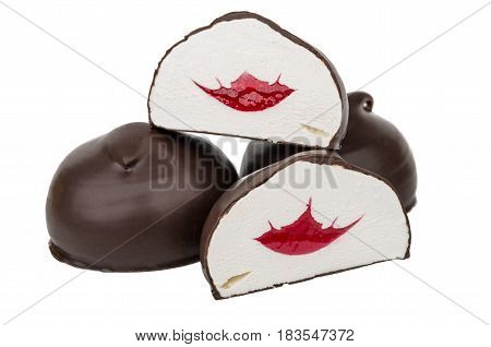 Pieces Of Marshmallow In Chocolate With Fruit Jelly On White