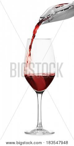 Pouring red wine into glass on white background