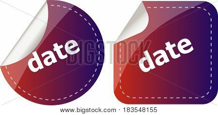 Date Word Stickers Web Button Set, Label, Icon