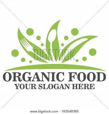 Organic food logo design vector eps 10
