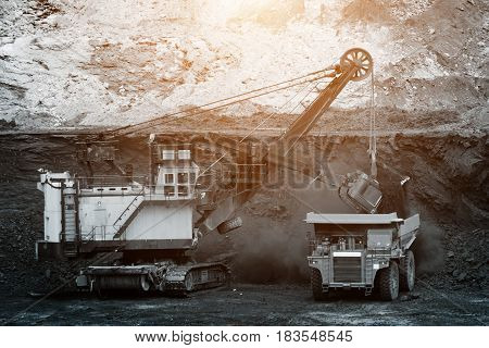 Big Mining Truck Unload Coal