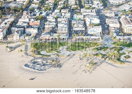 Los Angeles, USA - September 28 2016: Afternoon aerial view of Venice Beach skate park in Southern California.