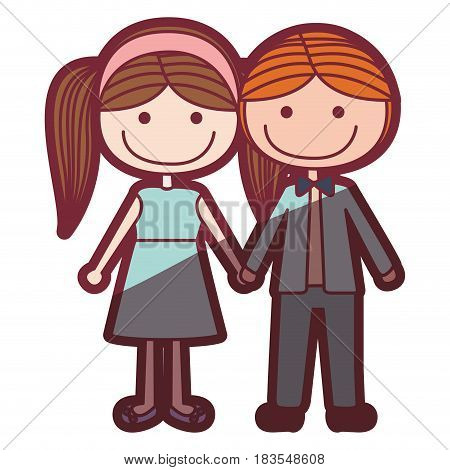 color silhouette shading cartoon blond guy hair and girl pigtails hairstyle with taken hands vector illustration