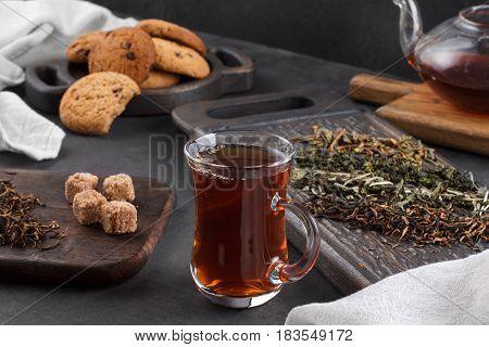 Cup Of Tea, Still Life On A Dark Background