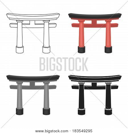 Torii icon in cartoon style isolated on white background. Religion symbol vector illustration.
