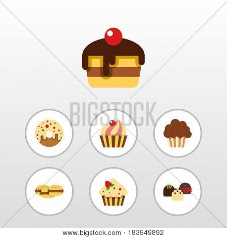 Flat Cake Set Of Sweetmeat, Dessert, Biscuit And Other Vector Objects. Also Includes Shortcake, Donuts, Sweetmeat Elements.